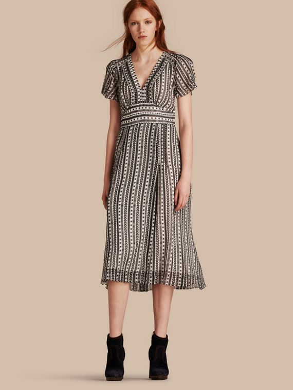 Pintucked Geometric Print Silk Dress