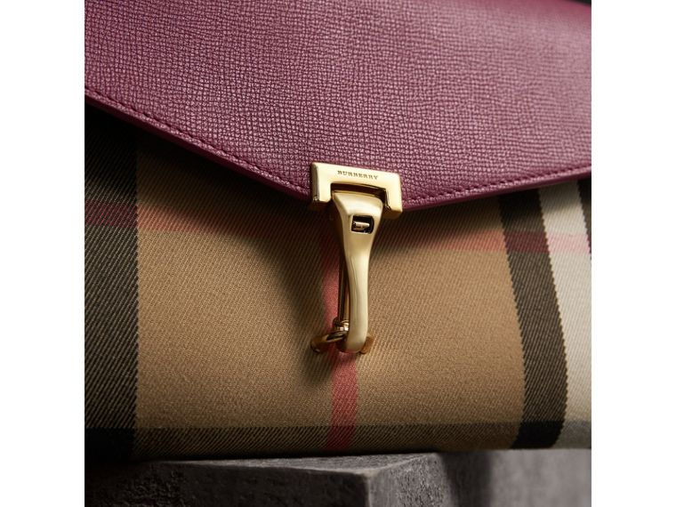 Small Leather and House Check Crossbody Bag in Berry Pink - Women | Burberry - cell image 1