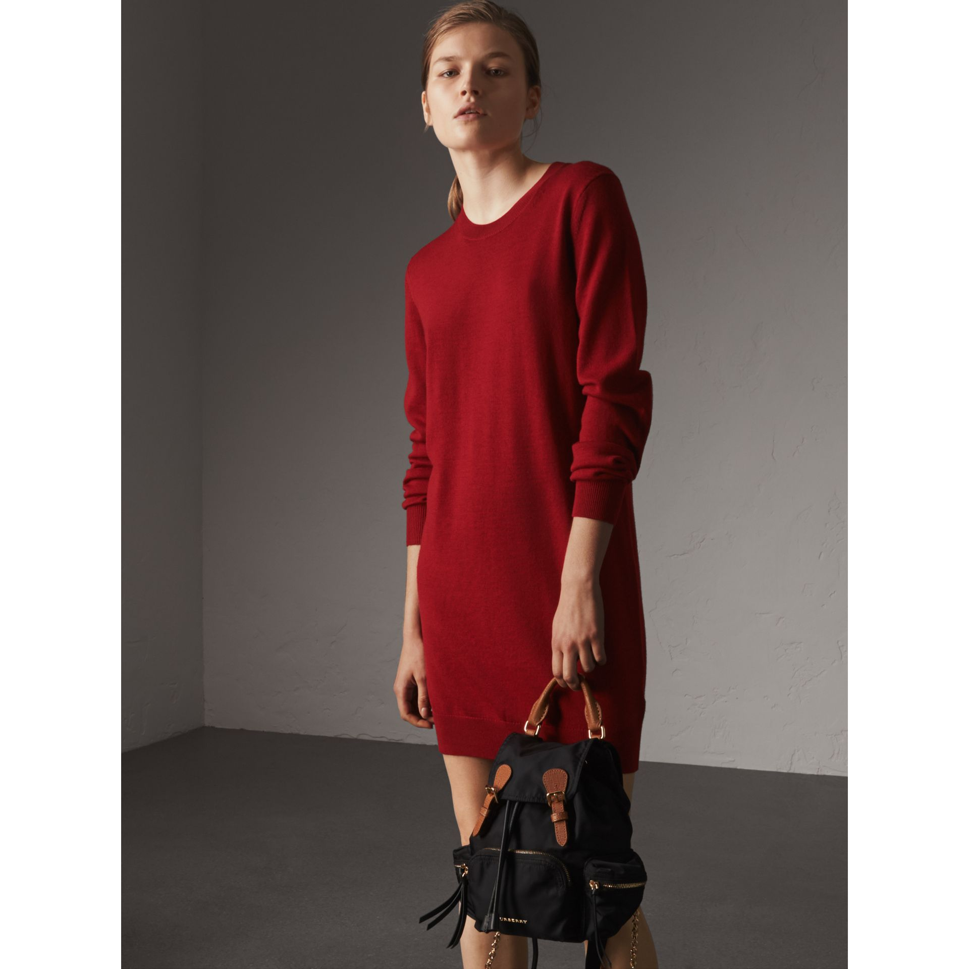 Check Elbow Detail Merino Wool Sweater Dress in Parade Red - Women | Burberry United Kingdom - gallery image 4