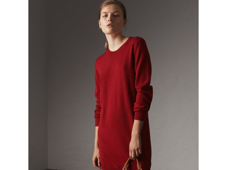Check Elbow Detail Merino Wool Sweater Dress in Parade Red - Women | Burberry United Kingdom - cell image 4