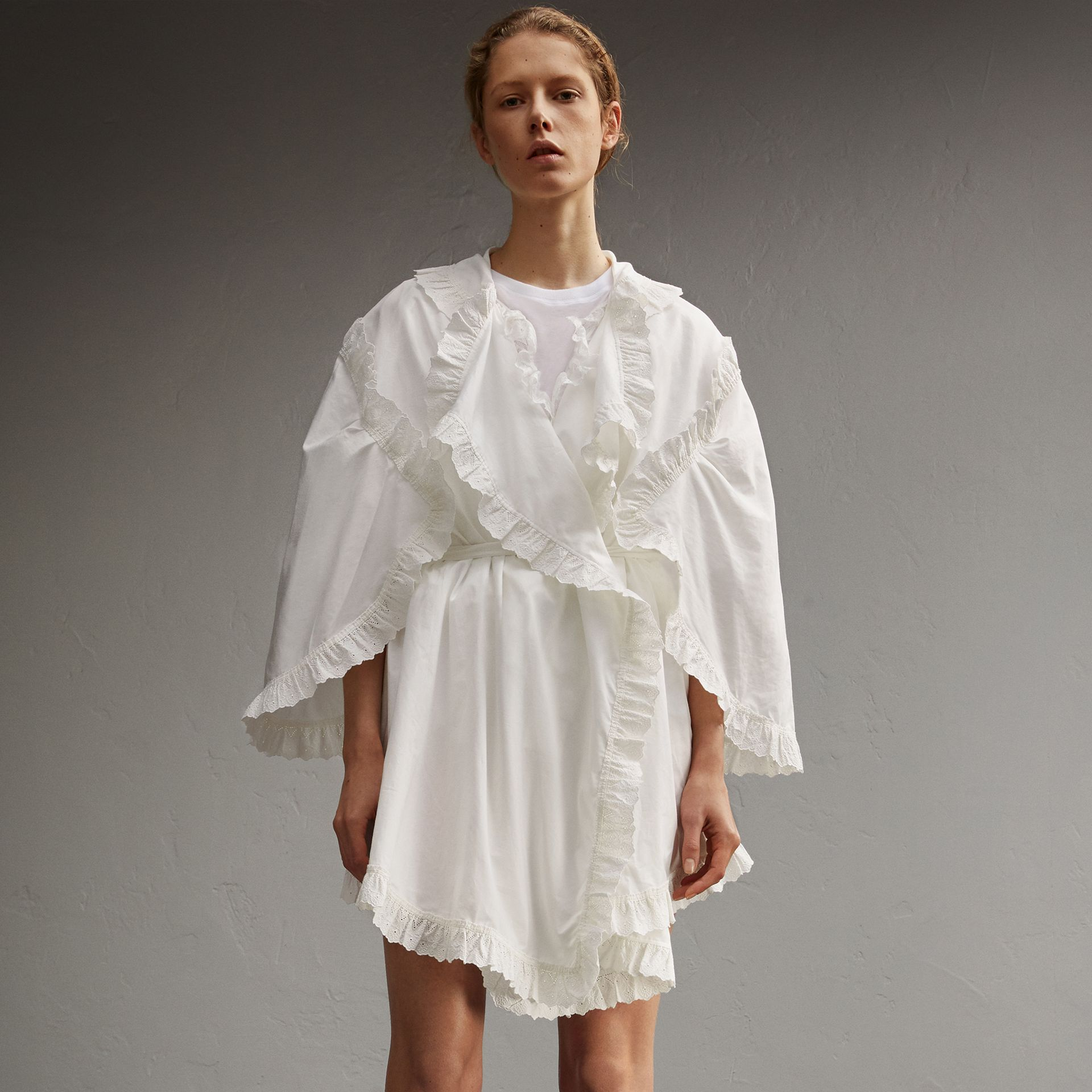 Broderie Anglaise Ruffle Cotton Dress in White - Women | Burberry - gallery image 1