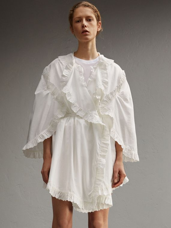 Cotton Dress with Broderie Anglaise Ruffles