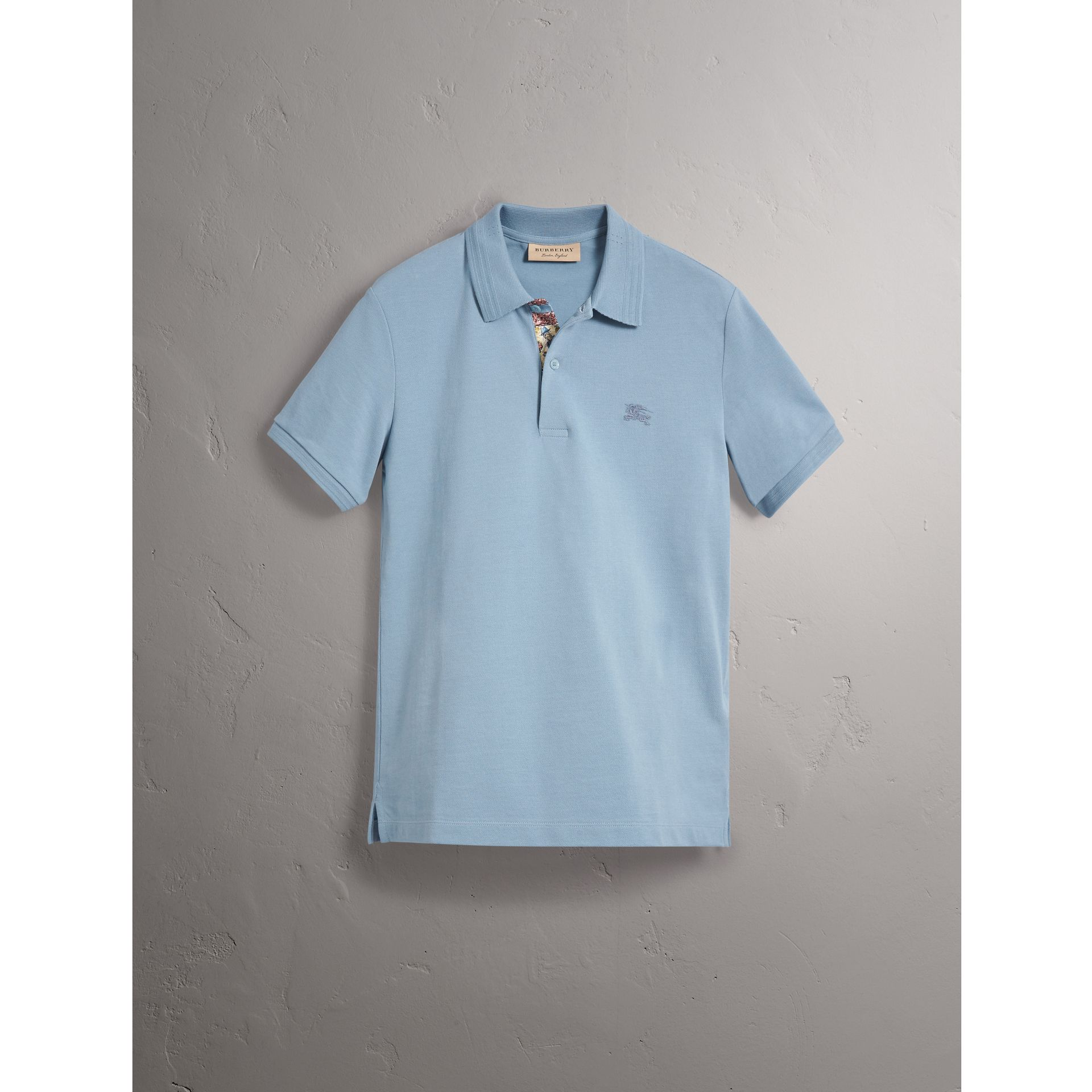 Print Trim Cotton Piqué Polo Shirt in Dusty Teal Blue - Men | Burberry United Kingdom - gallery image 3