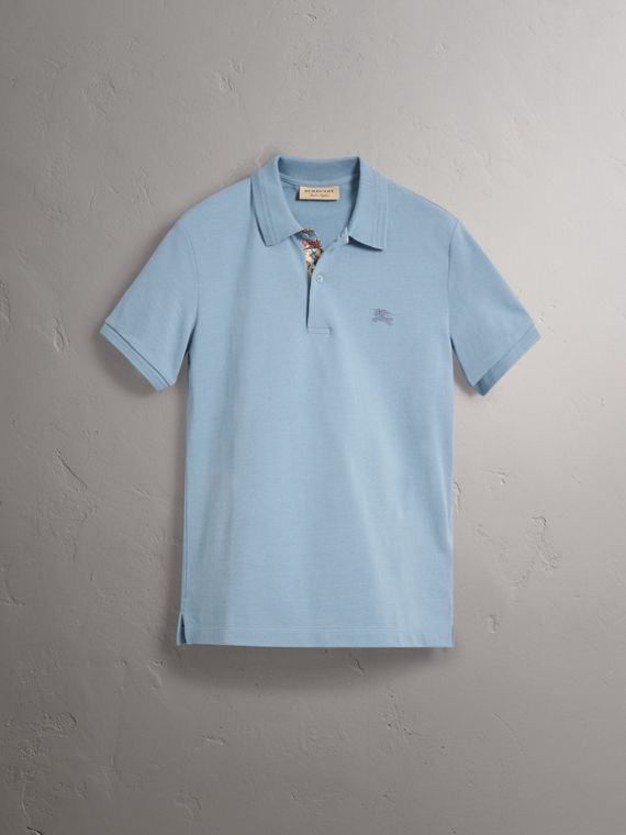 Print Trim Cotton Piqué Polo Shirt in Dusty Teal Blue - Men | Burberry - cell image 3
