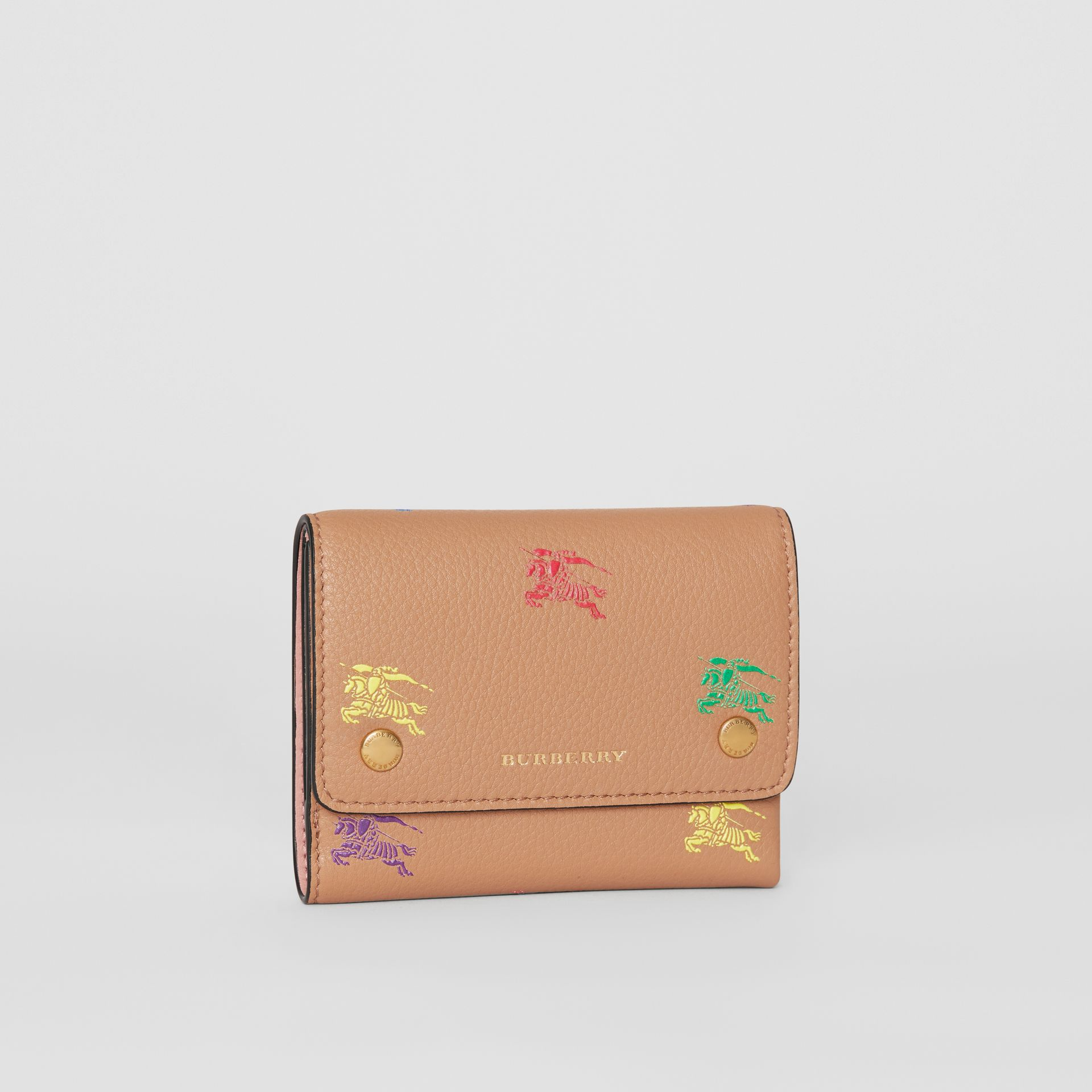 Small EKD Leather Wallet in Light Camel - Women | Burberry Canada - gallery image 3