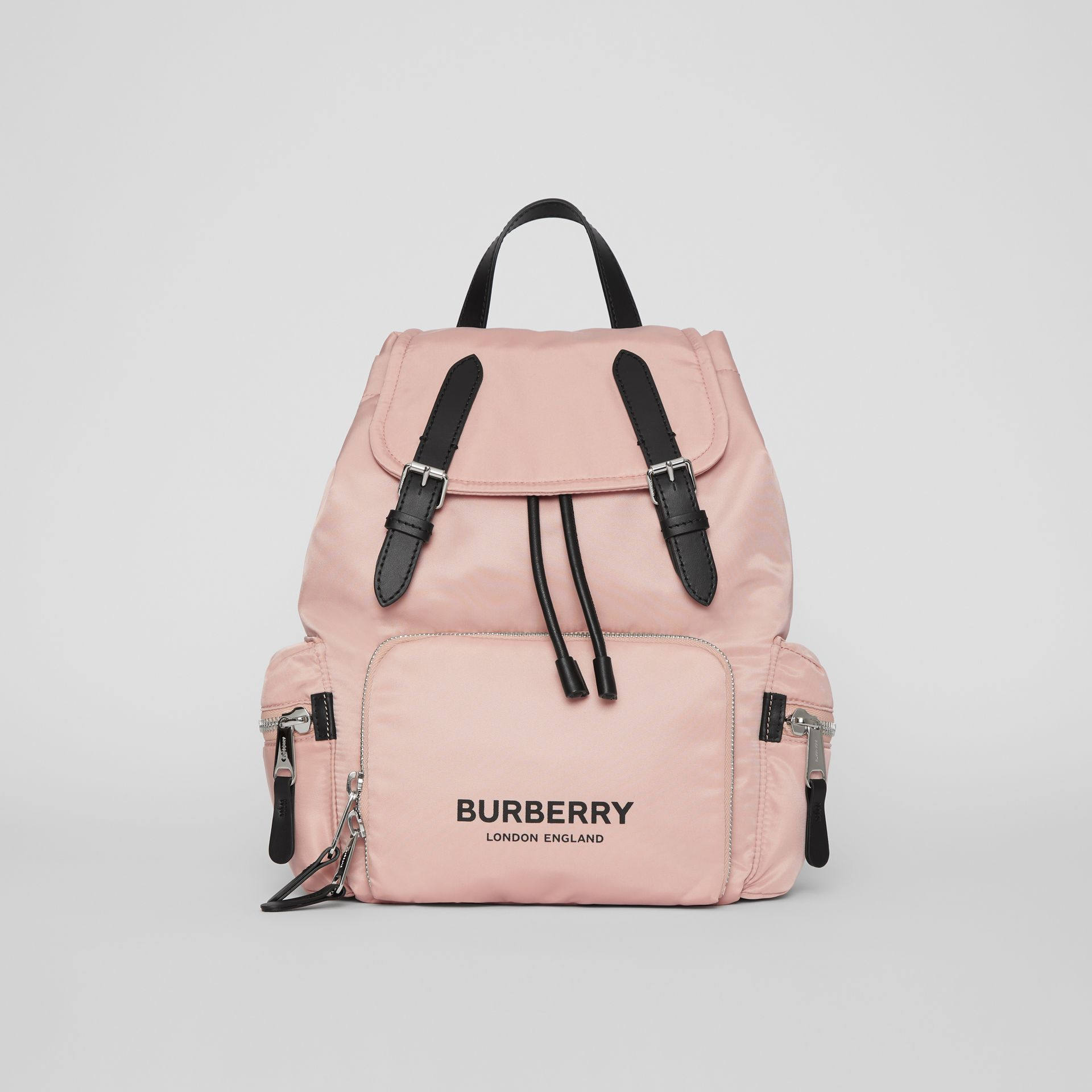 The Medium Rucksack in Logo Print Nylon in Rose Beige - Women | Burberry - gallery image 0