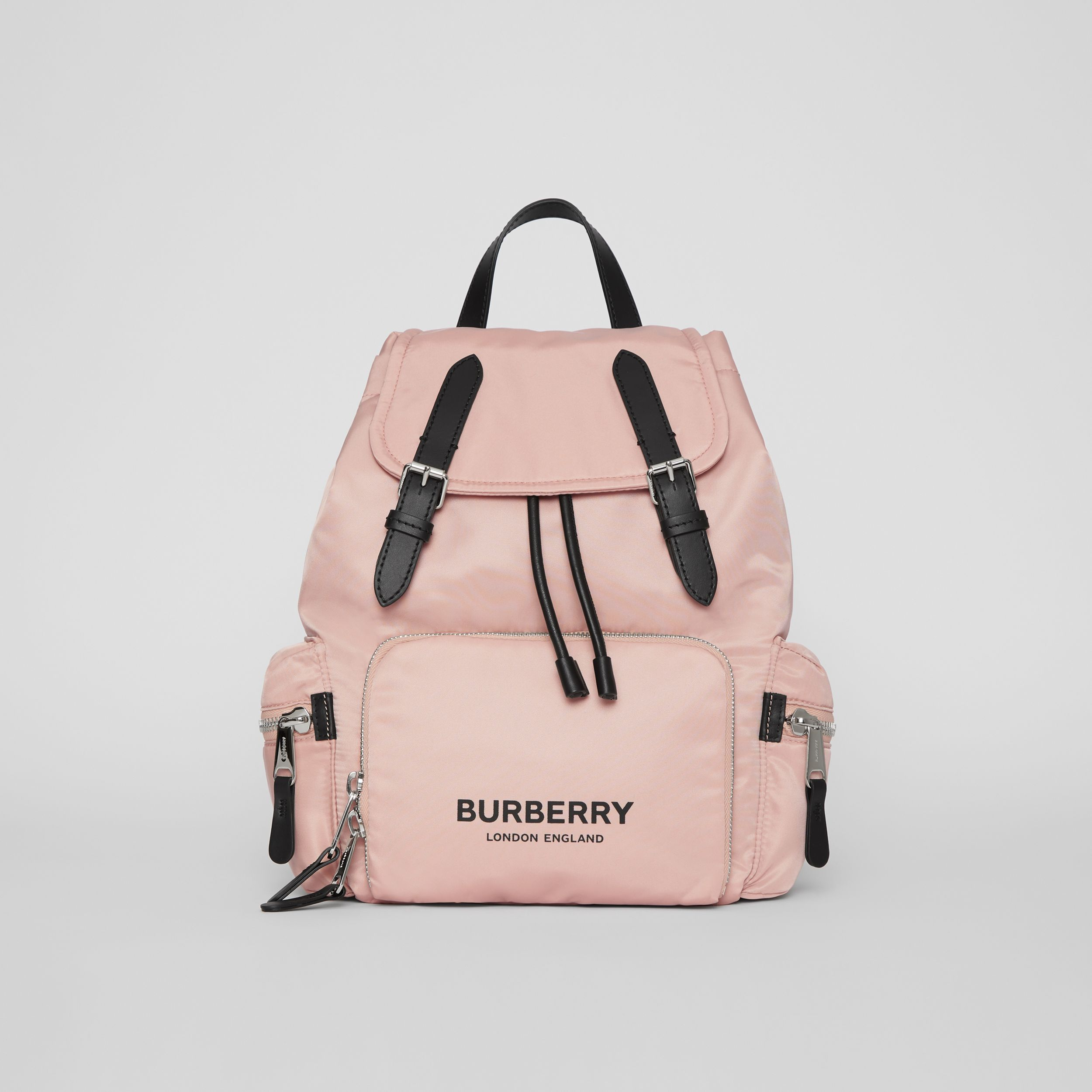 The Medium Rucksack in Logo Print Nylon in Rose Beige - Women | Burberry - 1