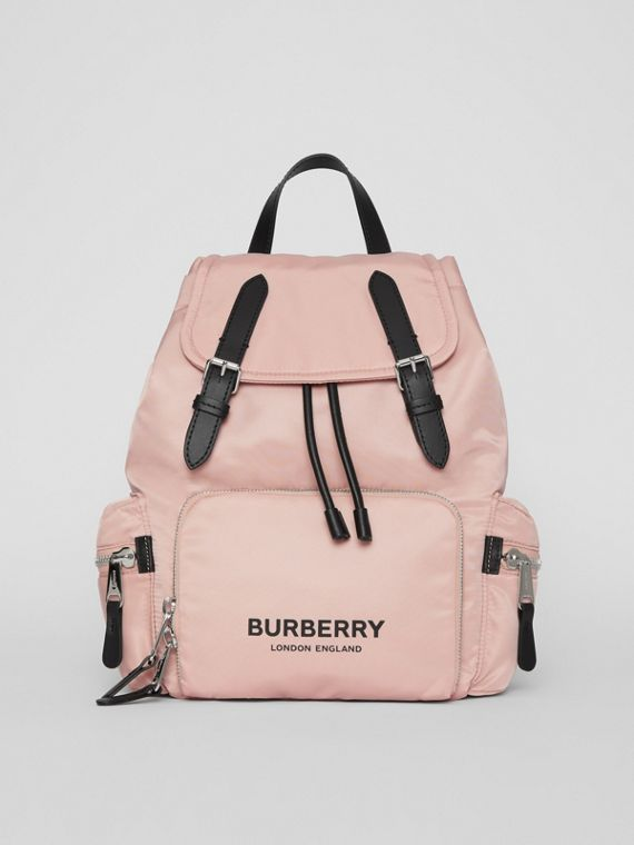 The Medium Rucksack in Logo Print Nylon in Rose Beige
