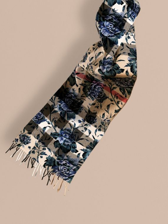 Reversible Floral Print and Check Cashmere Scarf