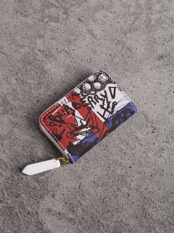 Doodle Print Coated Canvas Ziparound Coin Case in Red/blue