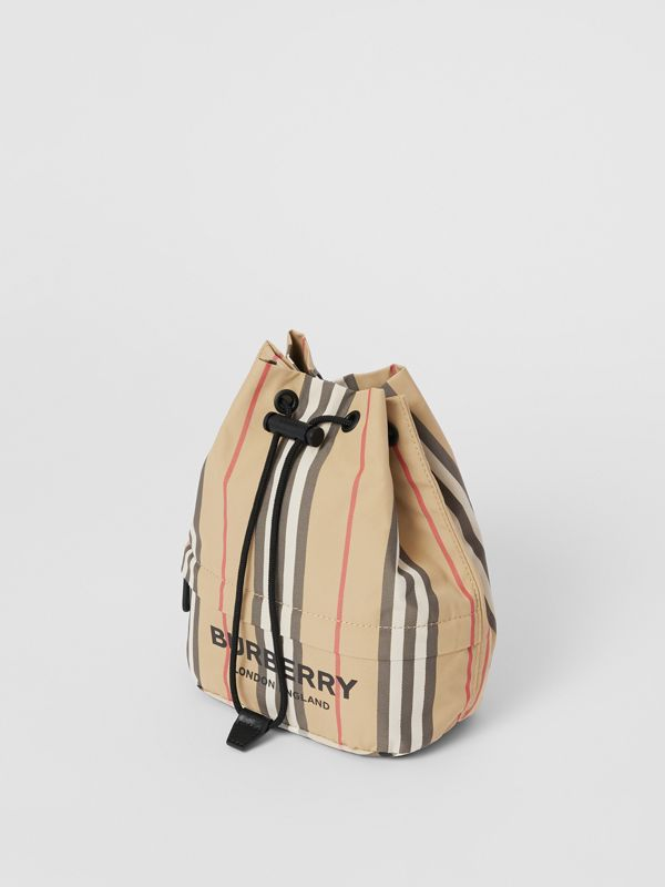 Logo Print Icon Stripe Nylon Drawcord Pouch in Archive Beige - Women | Burberry United Kingdom - cell image 3