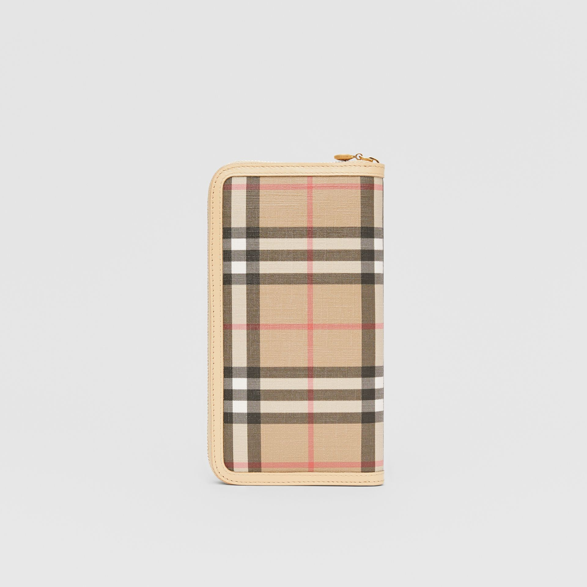 Vintage Check E-canvas and Leather Wallet in Beige - Women | Burberry Hong Kong S.A.R - gallery image 4