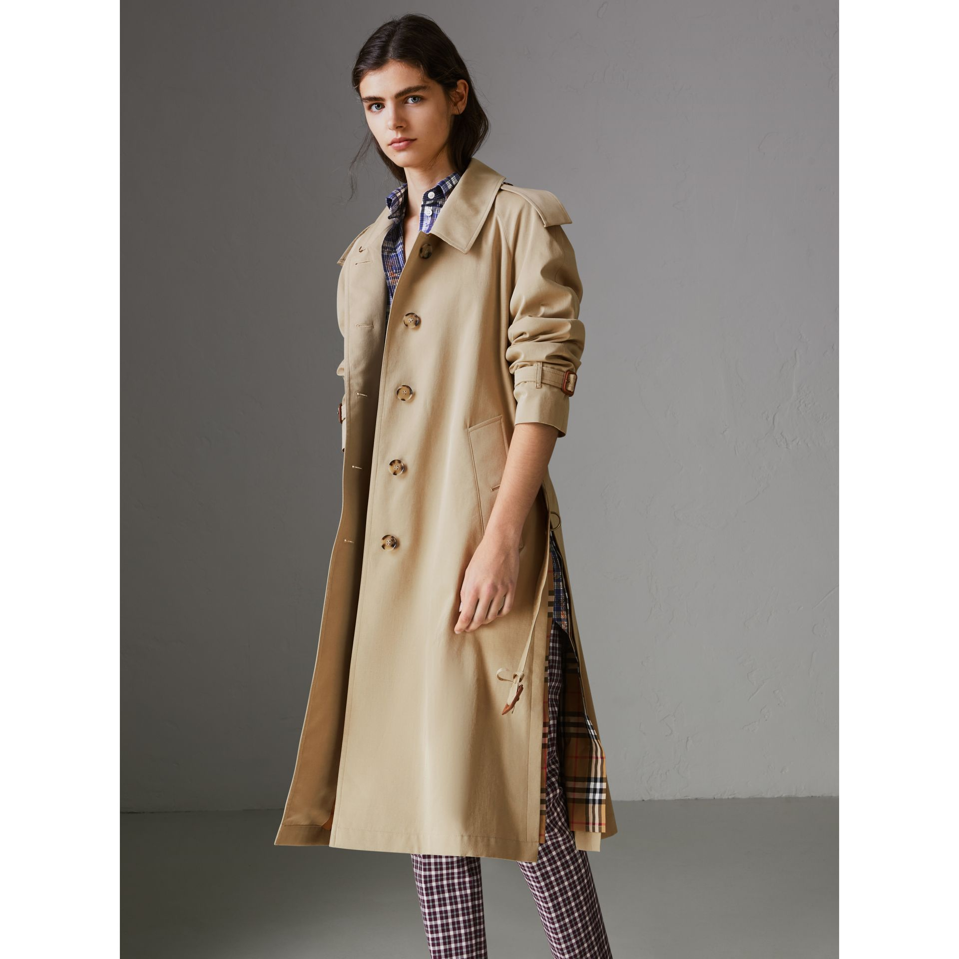 Side-slit Tropical Gabardine Trench Coat in Oatmeal - Women | Burberry United States - gallery image 6