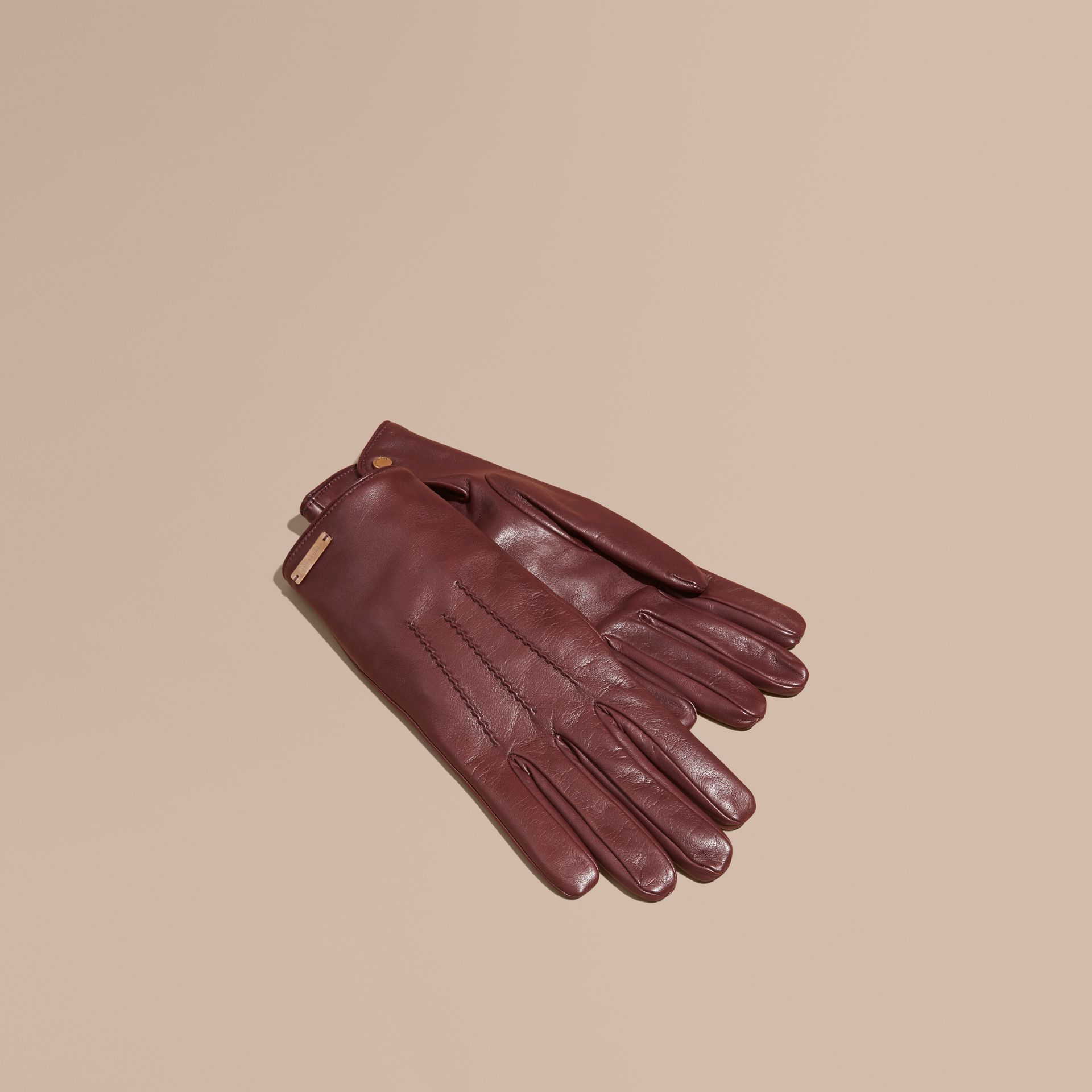 Cashmere Lined Lambskin Gloves in Dark Claret - Men | Burberry - gallery image 1