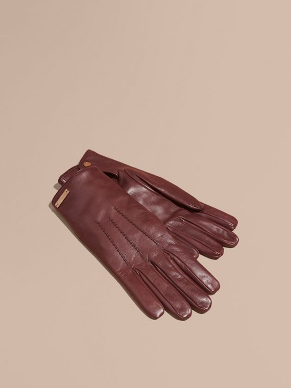 Cashmere Lined Lambskin Gloves in Dark Claret - Men | Burberry Hong Kong
