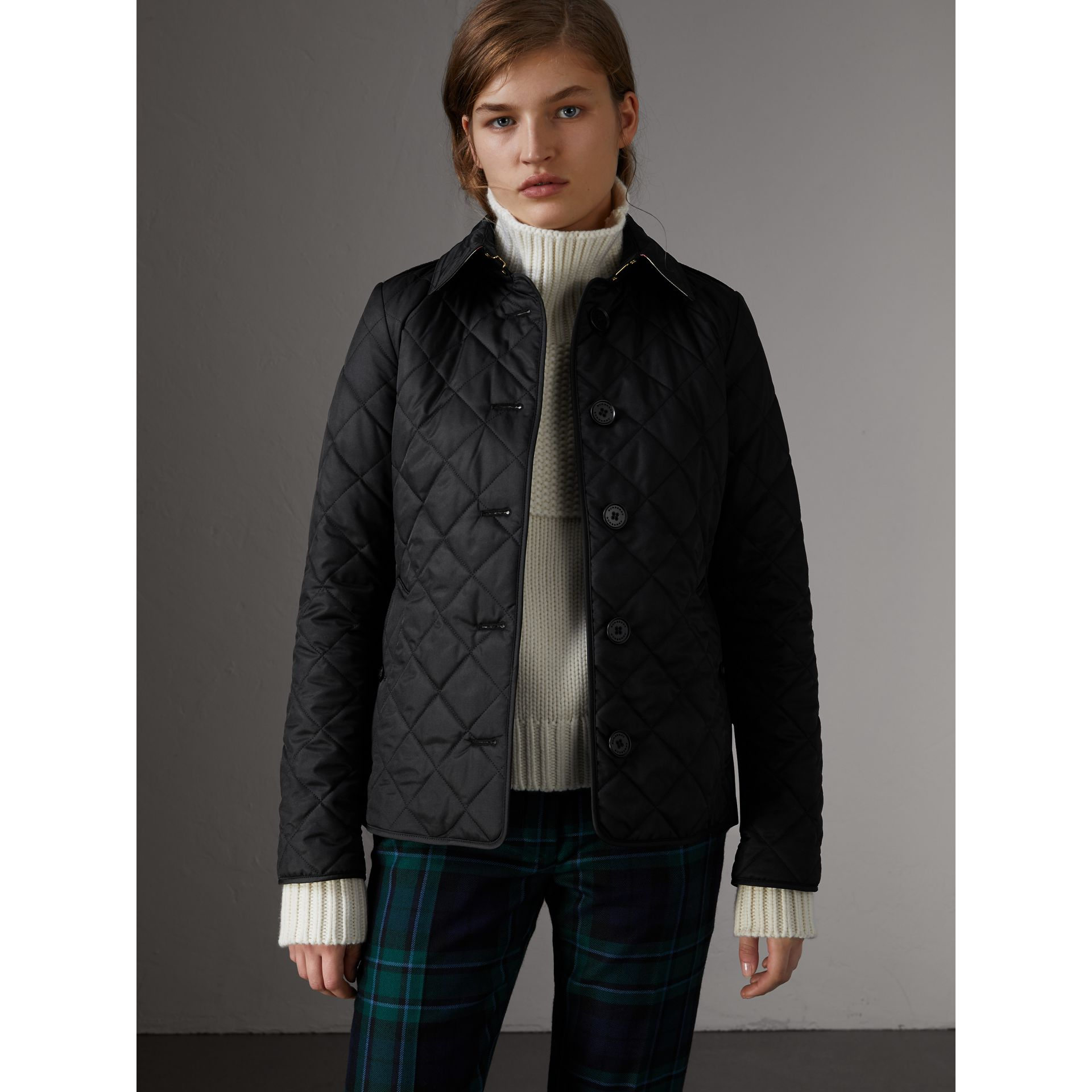 Diamond Quilted Jacket in Black - Women | Burberry - gallery image 6