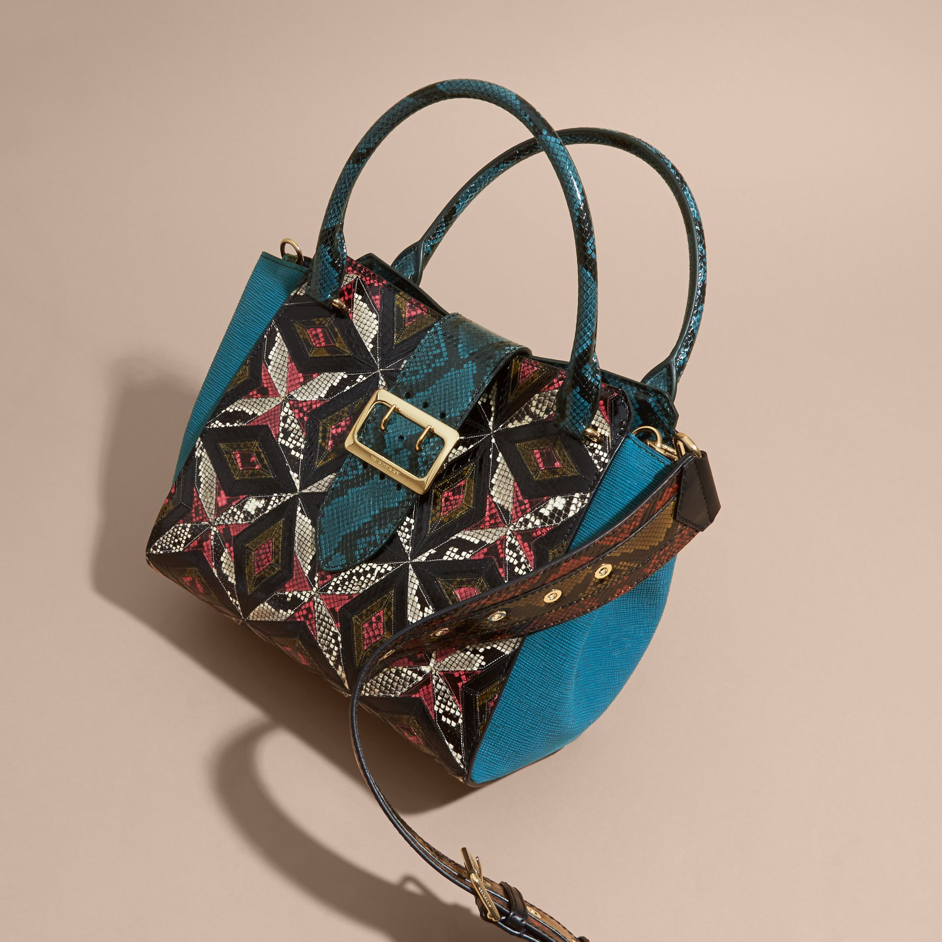 The Medium Buckle Tote in Tiled Snakeskin in Light Crimson - gallery image 8