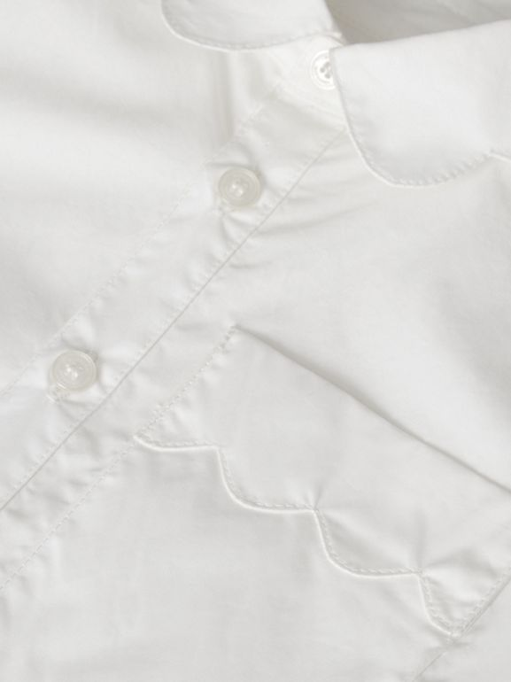 Scallop Detail Stretch Cotton Poplin Shirt in White | Burberry United States - cell image 1