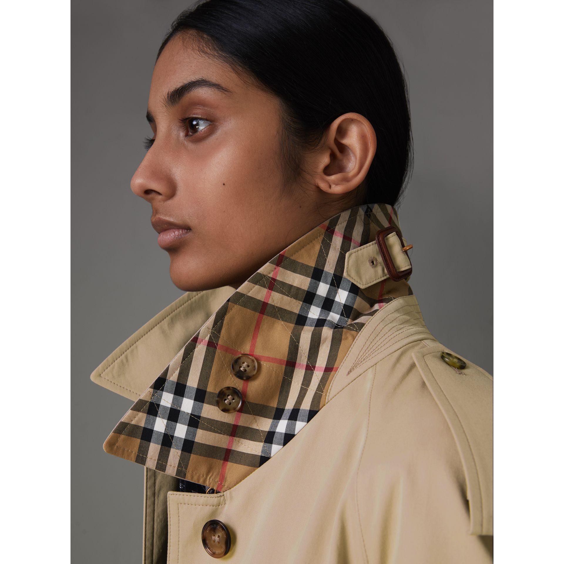 Side-slit Tropical Gabardine Trench Coat in Antique Taupe Pink - Women | Burberry United States - gallery image 1