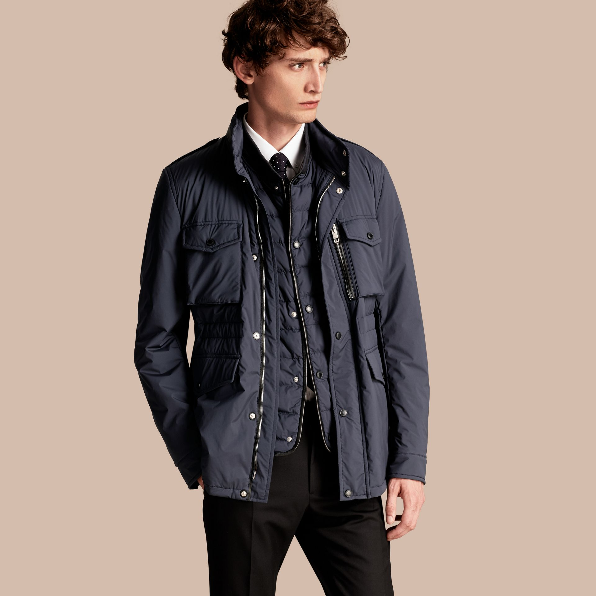 Navy Lightweight Field Jacket with Detachable Gilet - gallery image 1