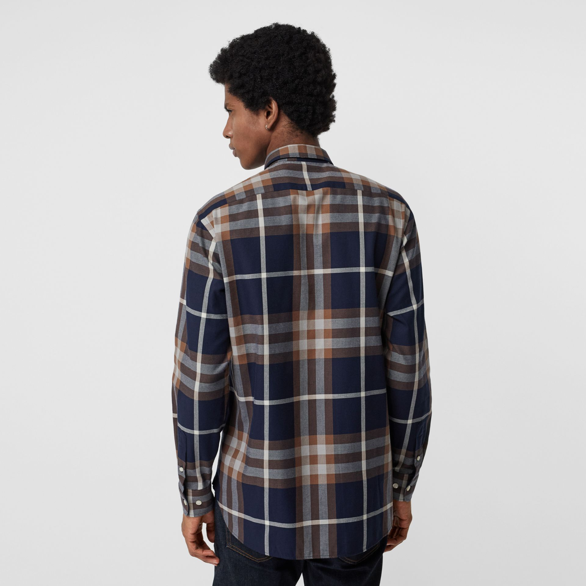 Check Cotton Flannel Shirt in Dark Navy - Men | Burberry - gallery image 2