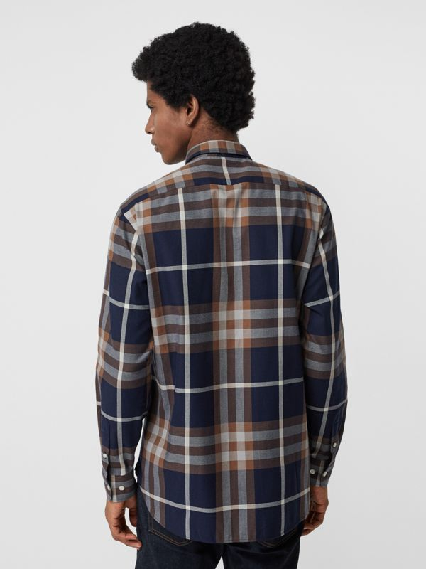 Check Cotton Flannel Shirt in Dark Navy - Men | Burberry Australia - cell image 2