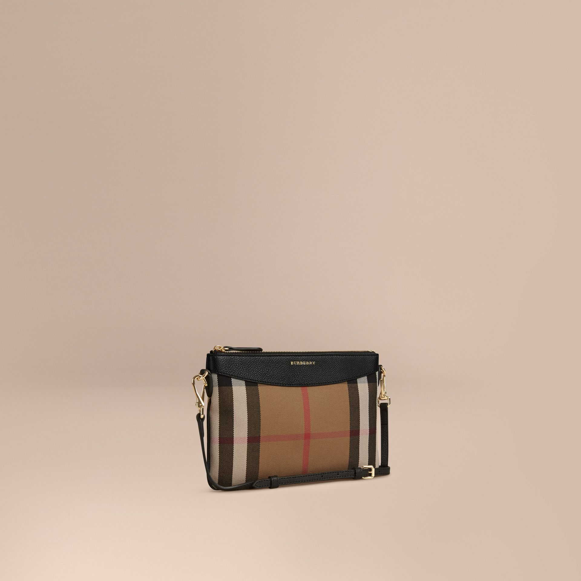 House Check and Leather Clutch Bag in Black - gallery image 1