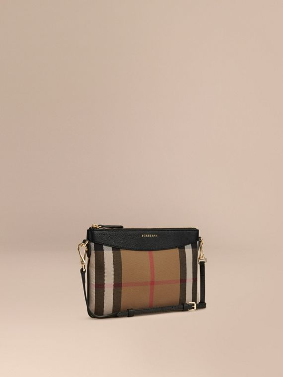 House Check and Leather Clutch Bag in Black