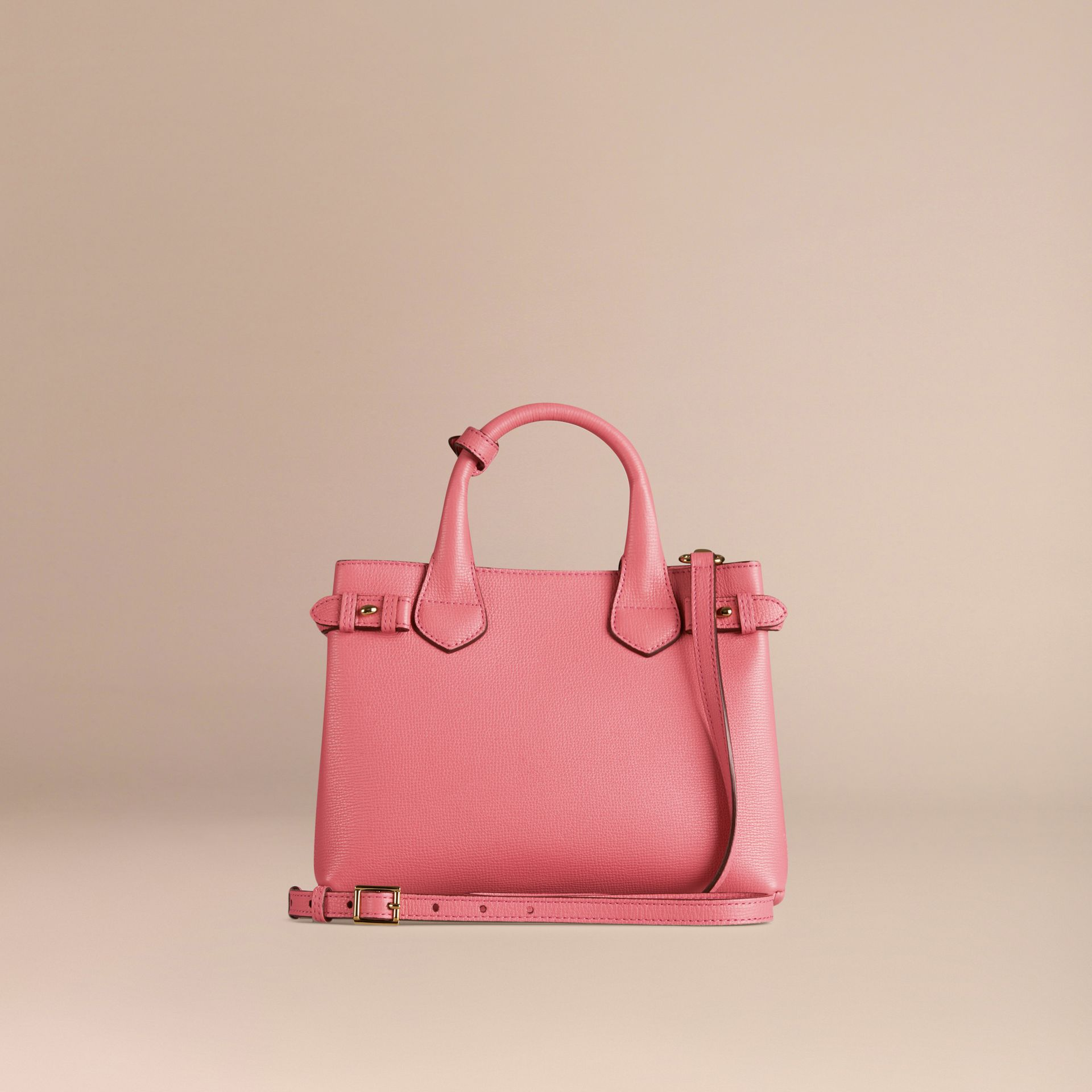 Sac The Banner medium en cuir et coton House check Rose Mauve - photo de la galerie 4