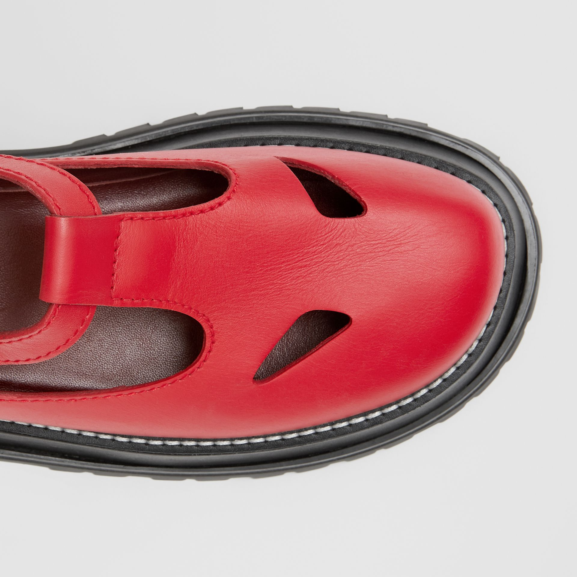 Leather T-bar Shoes in Red - Women | Burberry United Kingdom - gallery image 9