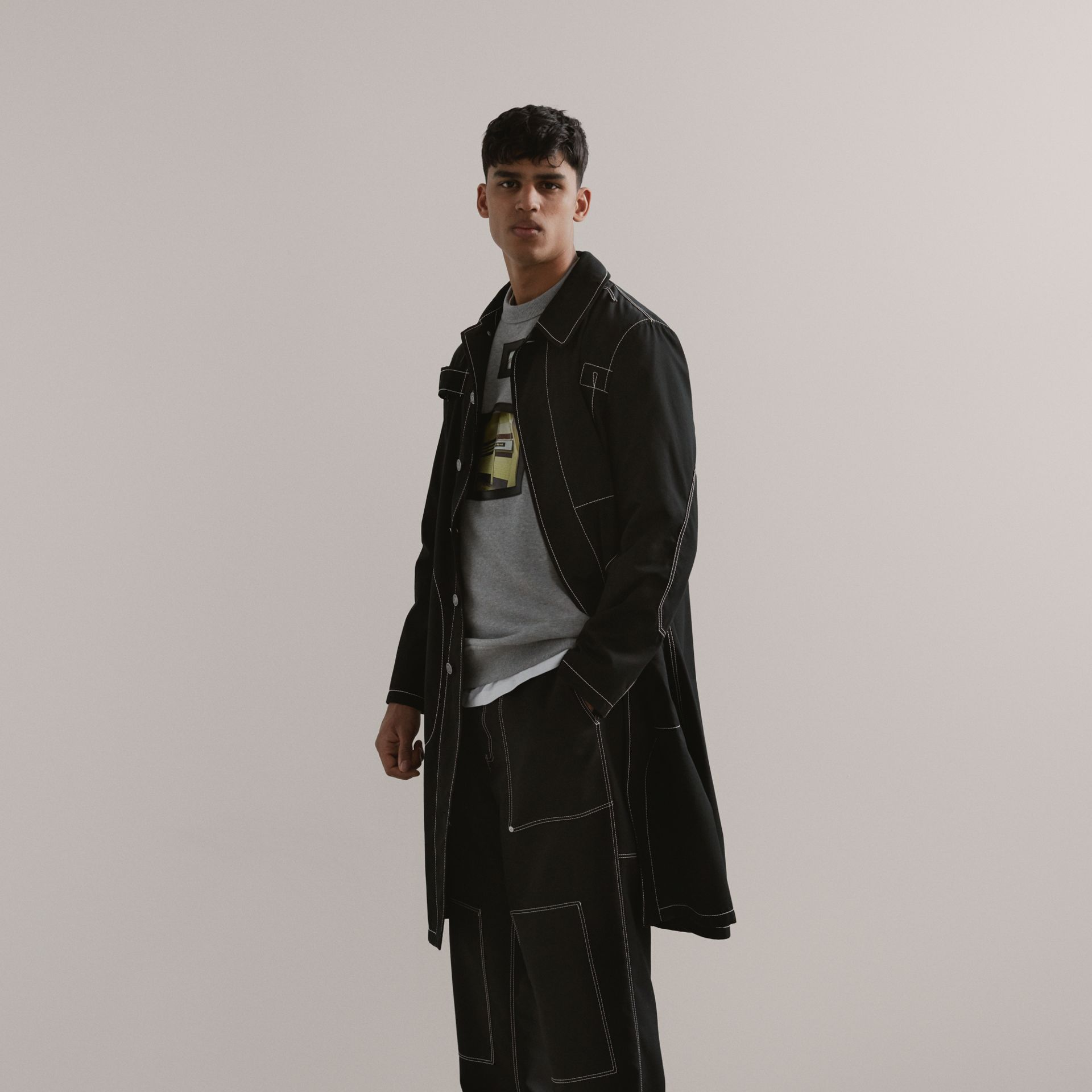 Topstitch Detail Wool Blend Wide-leg Trousers in Black - Men | Burberry - gallery image 1