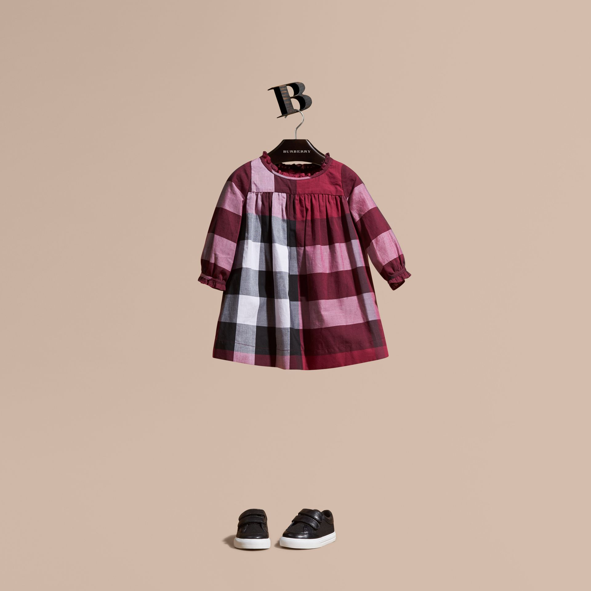 Dark plum pink Check Cotton Dress with Ruffle Detail Dark Plum Pink - gallery image 1