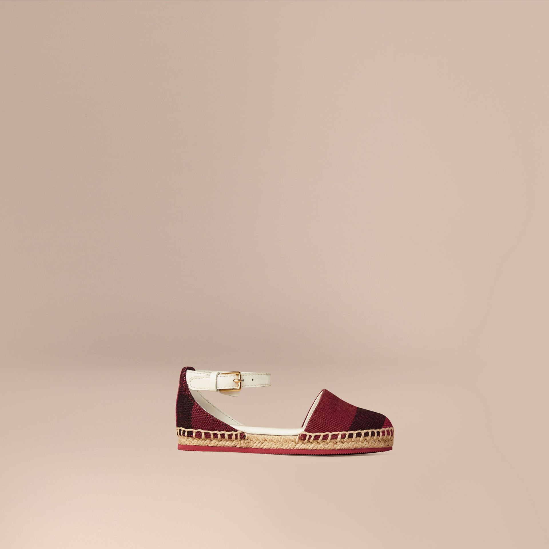 Plum Canvas Check Espadrille Sandals - gallery image 1