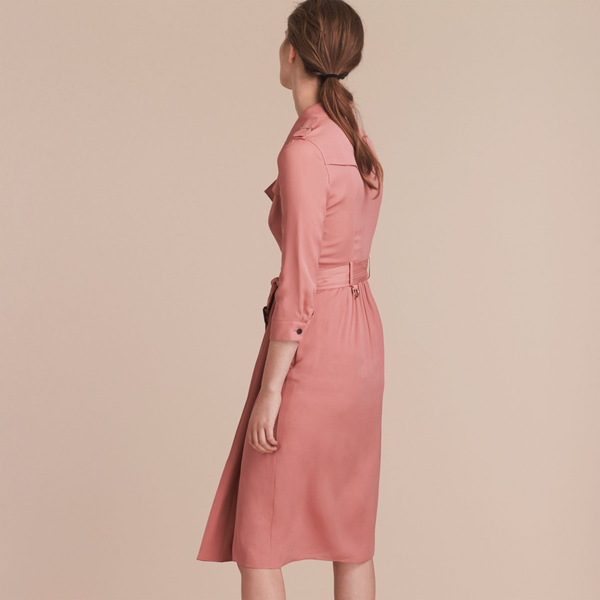 Silk Wrap Trench Dress in Light Copper Pink - gallery image 3