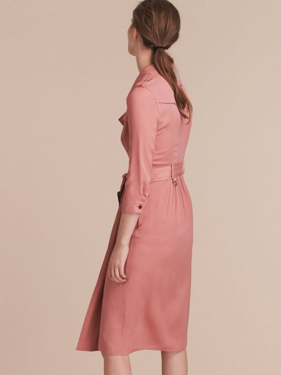 Silk Wrap Trench Dress in Light Copper Pink - cell image 2
