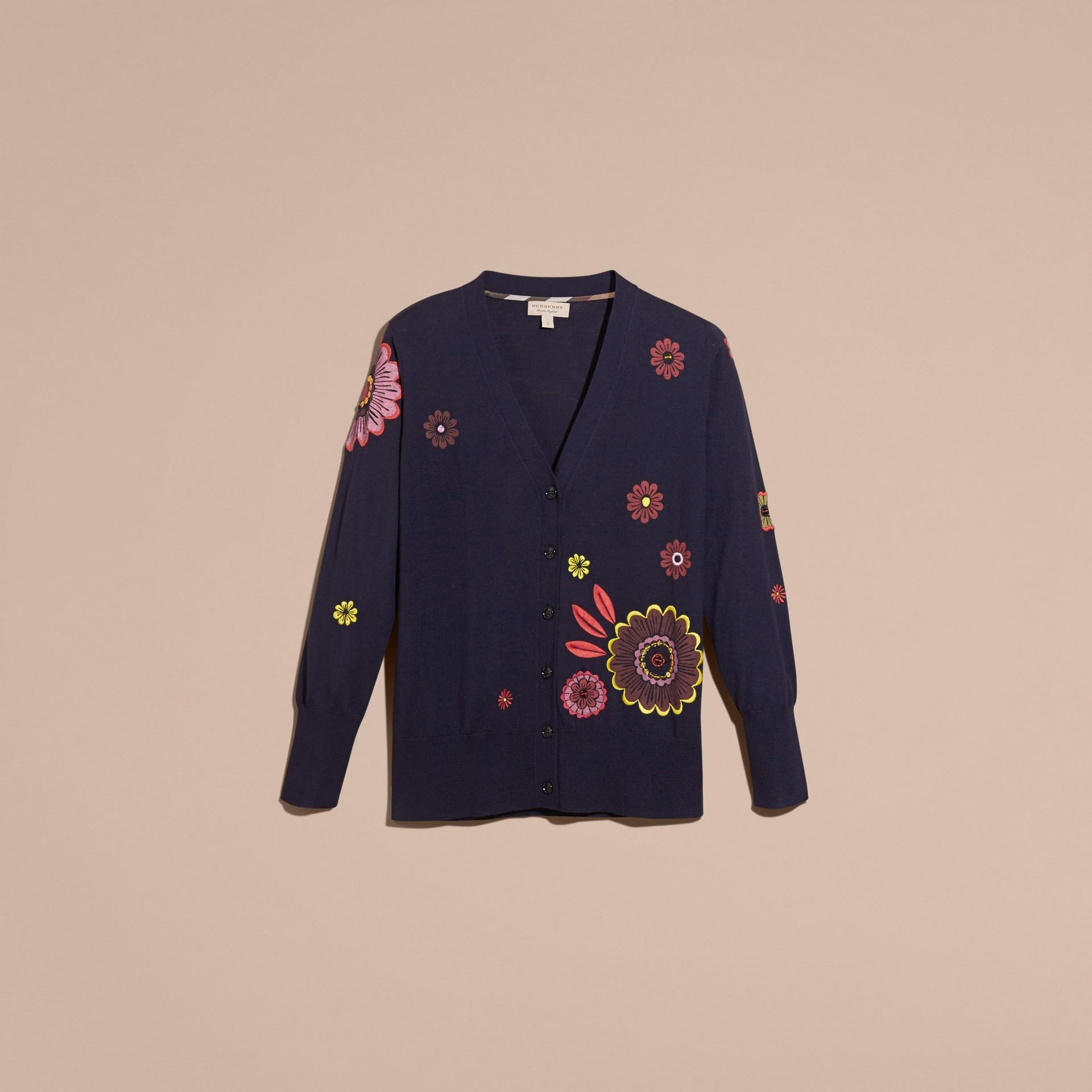 Navy Floral-embellished Merino Wool Cardigan - gallery image 4