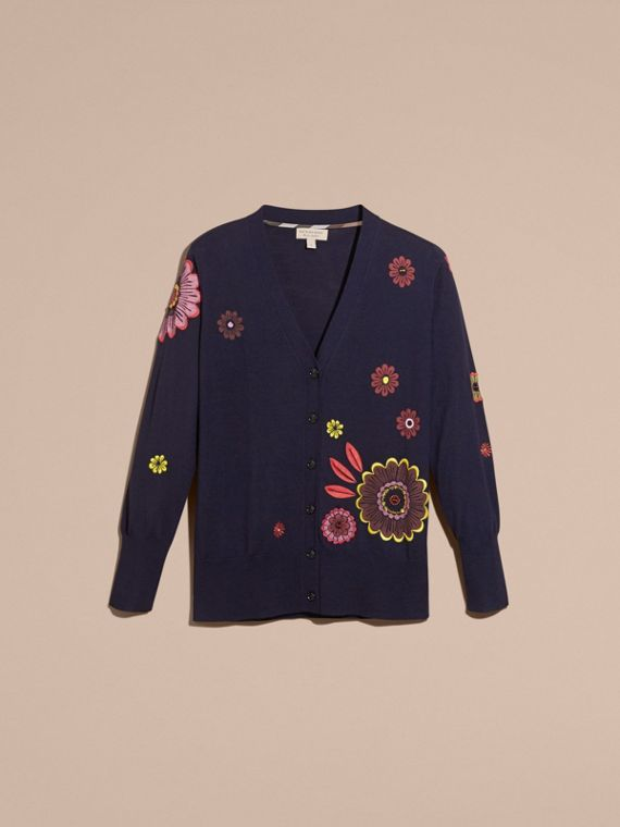 Navy Floral-embellished Merino Wool Cardigan - cell image 3