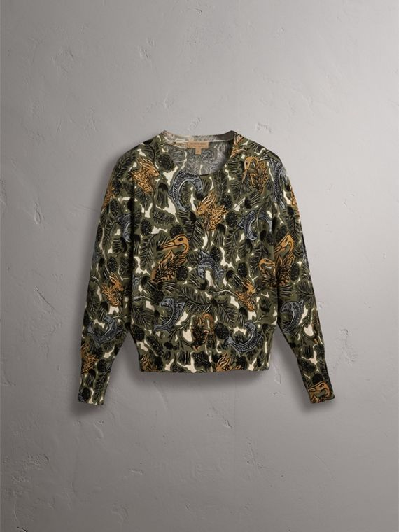 Beasts Print Cotton Sweater in Sage Green - Women | Burberry - cell image 2