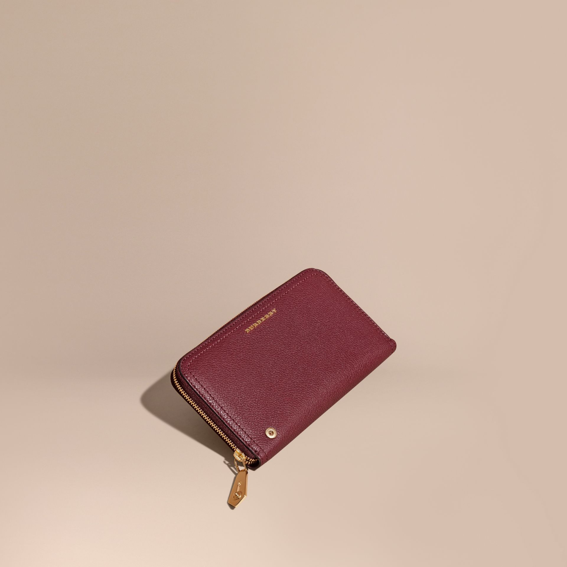 Dark plum Grainy Leather Ziparound Wallet Dark Plum - gallery image 1