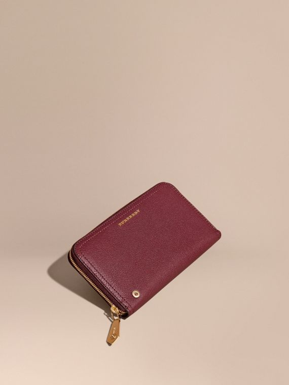 Grainy Leather Ziparound Wallet Dark Plum