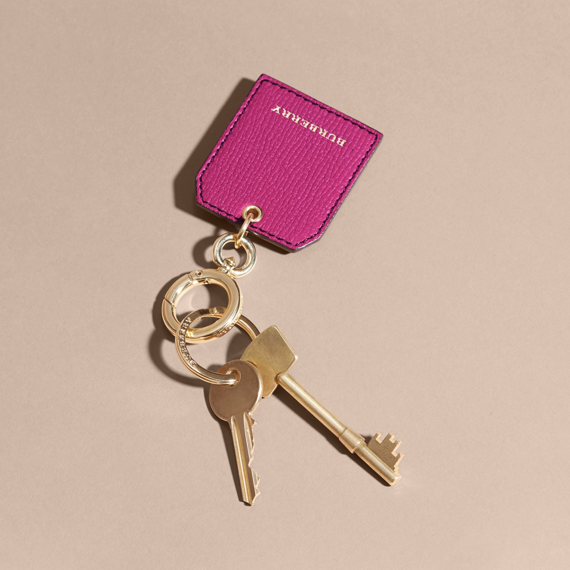 Grainy Leather Key Charm in Brilliant Fuchsia - Women | Burberry - gallery image 3