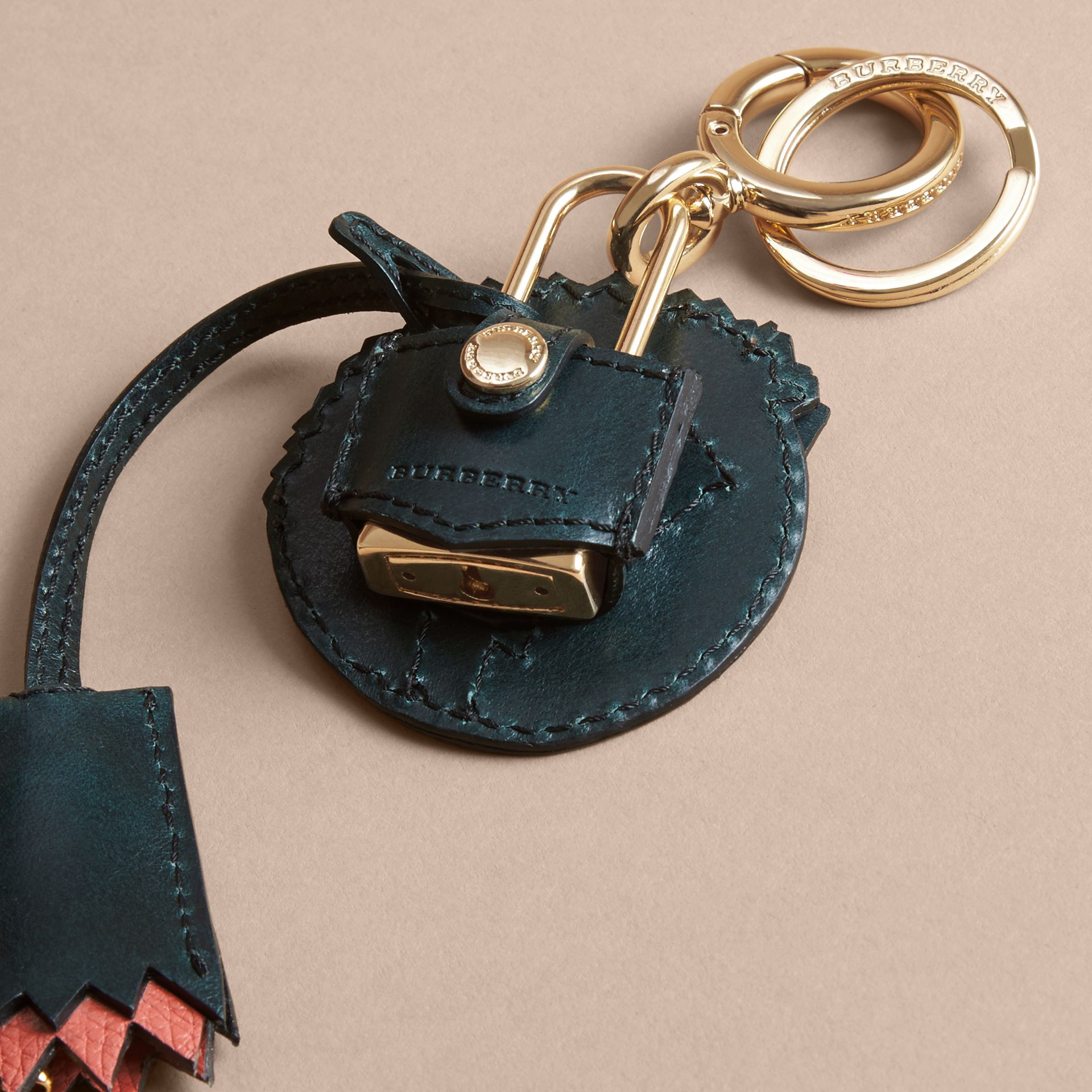 Pallas Heads Motif Leather Key Charm with Padlock in Multicolour - Women   Burberry United Kingdom - gallery image 4