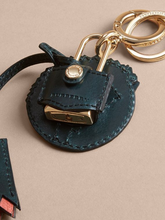 Pallas Heads Motif Leather Key Charm with Padlock in Multicolour - Women   Burberry United Kingdom - cell image 3
