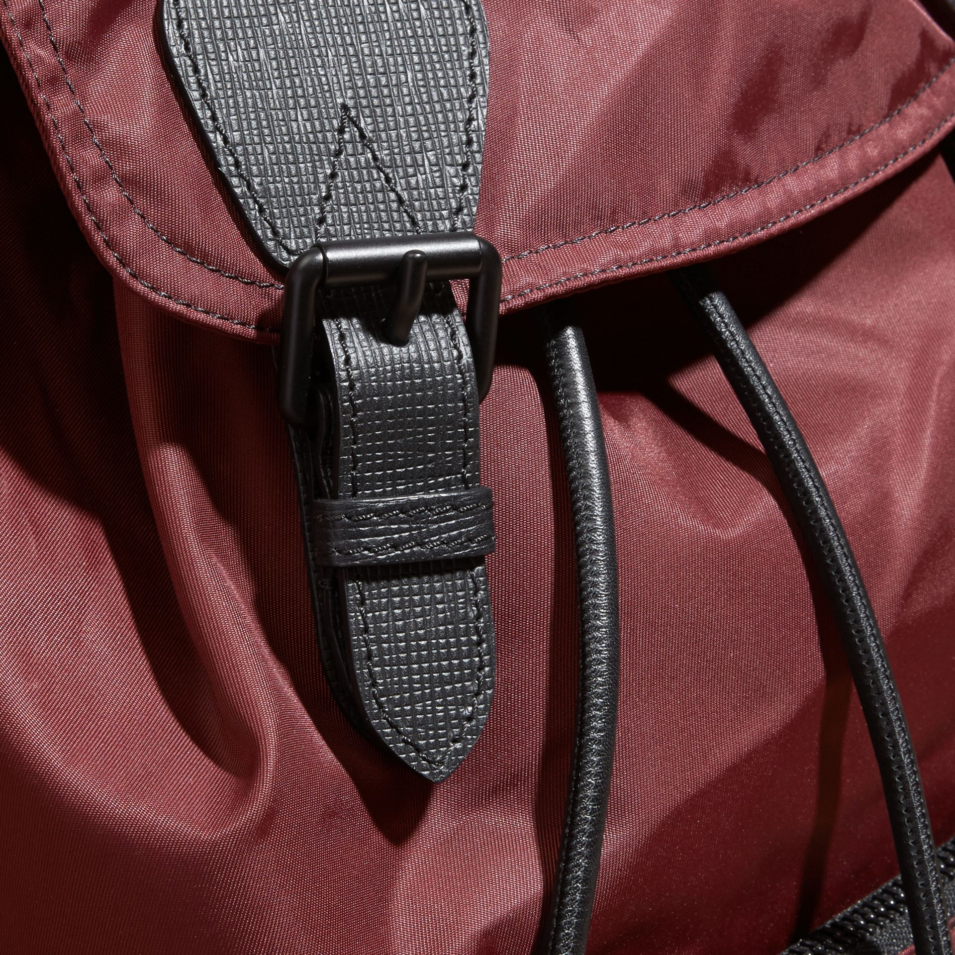 The Large Rucksack in Technical Nylon and Leather Burgundy Red - gallery image 5