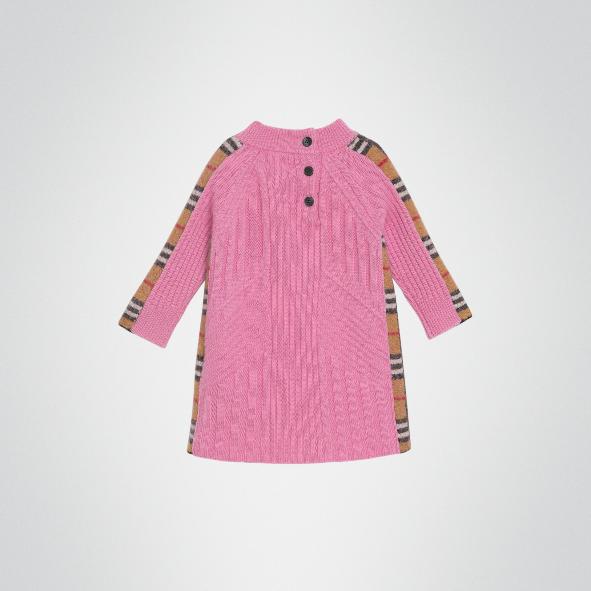Check Detail Wool Cashmere Dress in Rose Pink - Children | Burberry - gallery image 3