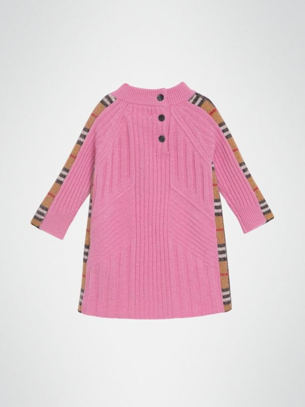 Check Detail Wool Cashmere Dress in Rose Pink - Children | Burberry Hong Kong - cell image 3