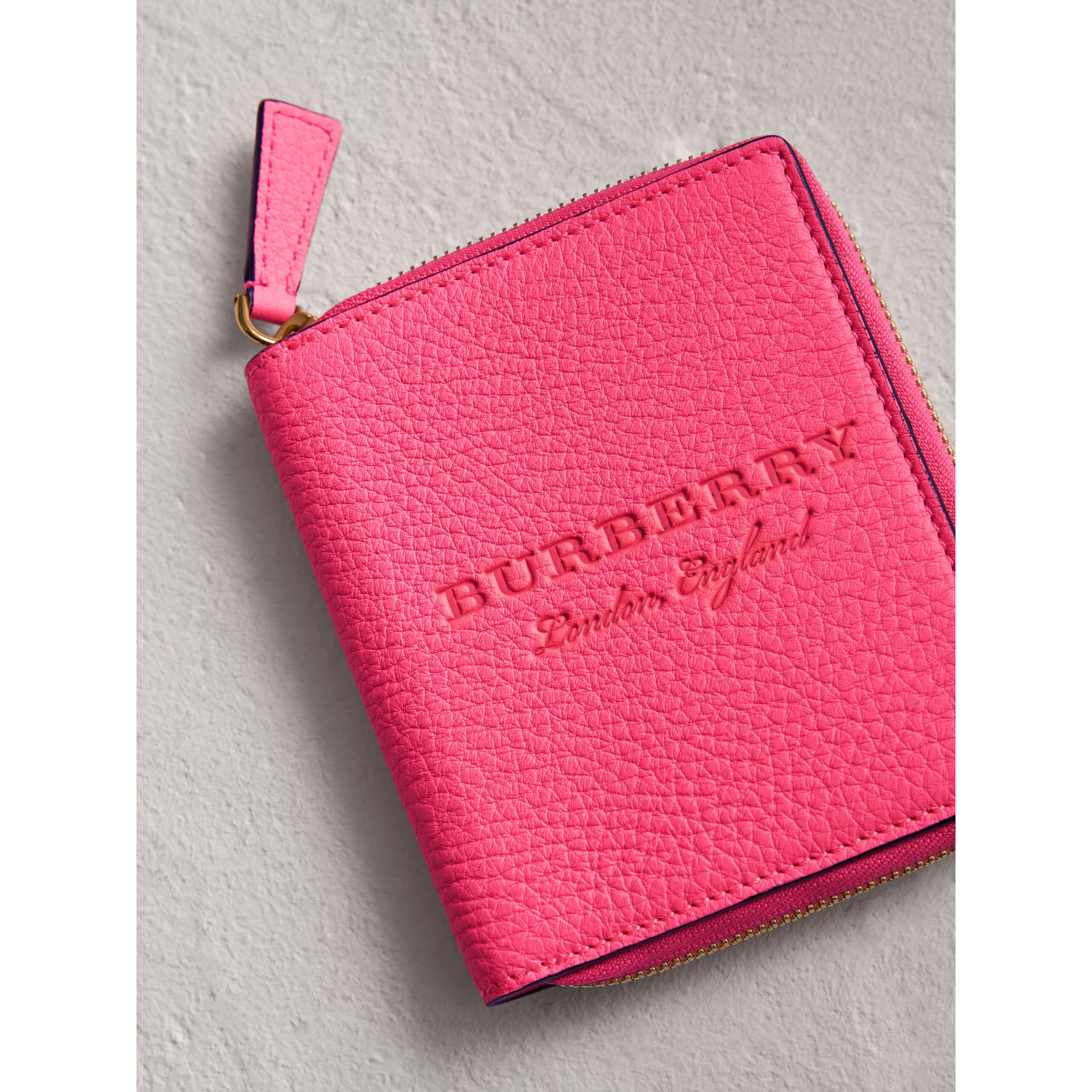 Embossed Grainy Leather Ziparound A6 Notebook Case in Bright Pink | Burberry - gallery image 1