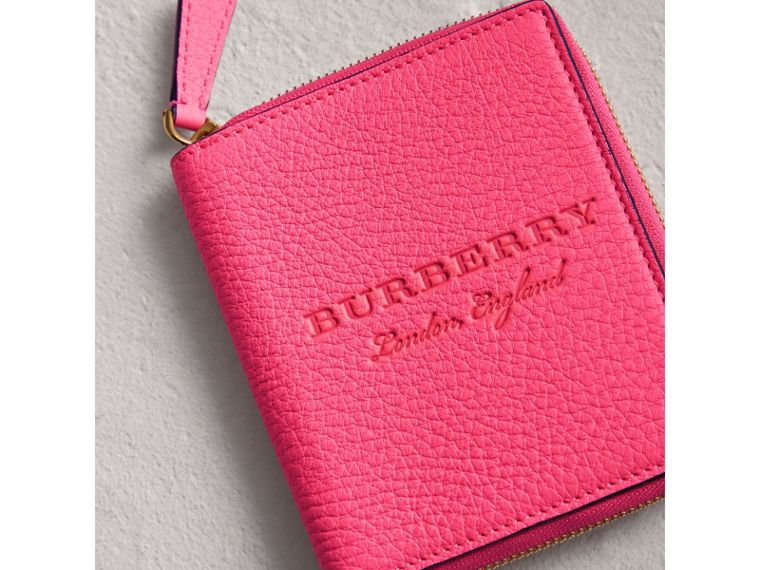 Embossed Grainy Leather Ziparound A6 Notebook Case in Bright Pink | Burberry - cell image 1