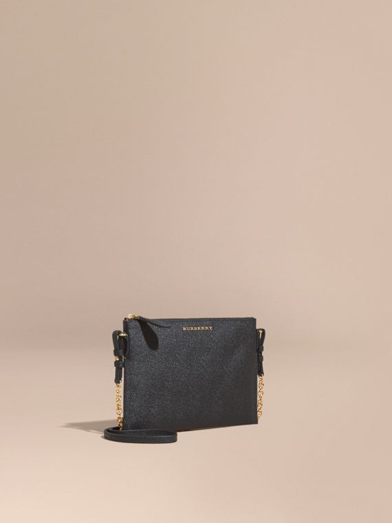Leather Clutch Bag with Check Lining in Black - Women | Burberry