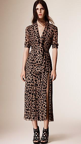 Tie Detail Animal Print Silk Dress